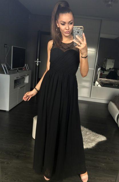 Szyfonowa sukienka maxi czarna
