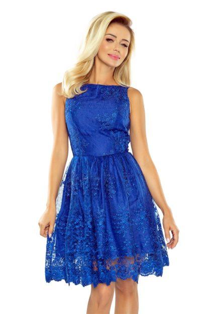 Ekskluzywna sukienka z koronki chabrowa