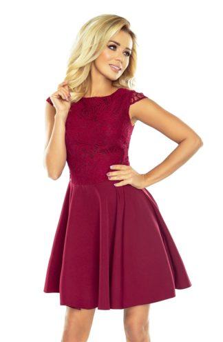 Sukienka z koronkową górą bordowa