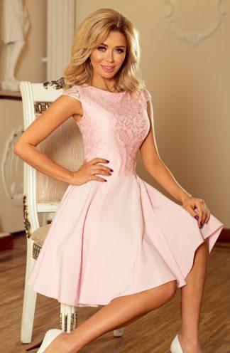Sukienka z koronkową górą róż