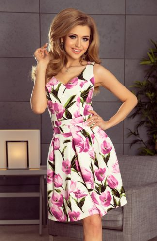 Sukienka z zakładkami w tulipany