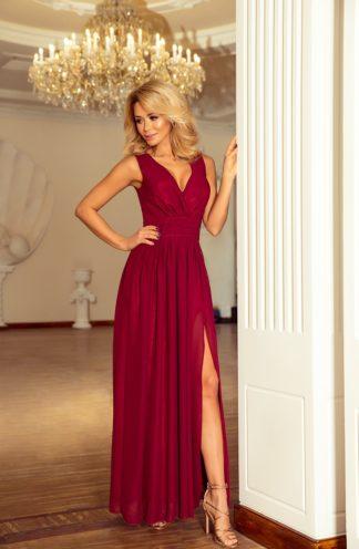 Długa szyfonowa sukienka bordowa