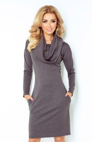 Sukienka z dużym golfem grafit