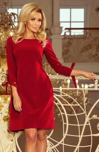 Wizytowa sukienka z kokardkami bordowa