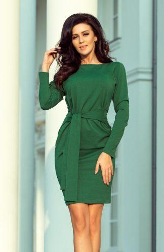 Sukienka ołówkowa z wiązaniem zielona