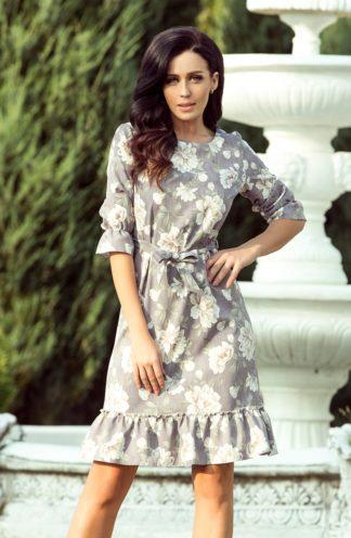 Sukienka wiązana z falbaną w kwiaty
