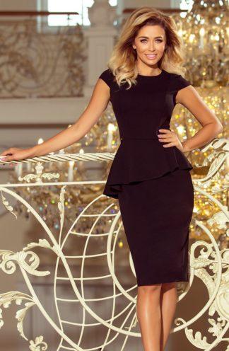 Sukienka biznesowa z baskinką czarna