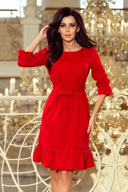 Sukienka biznesowa z falbaną czerwona
