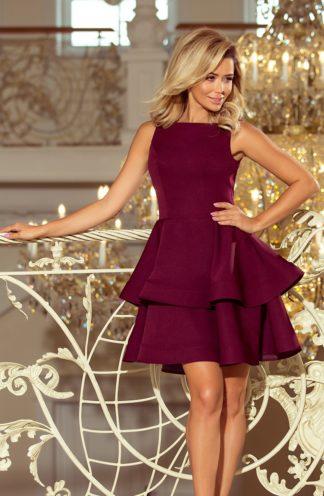 Rozkloszowana sukienka gładka bordowa