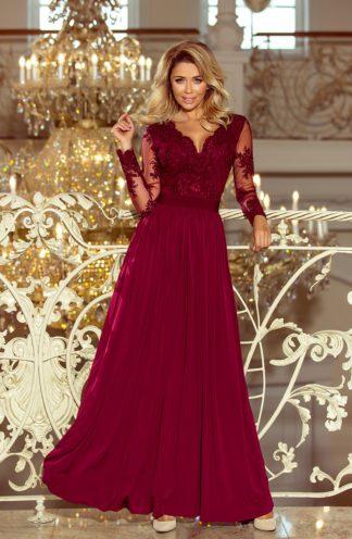 Długa suknia z rękawami bordowa