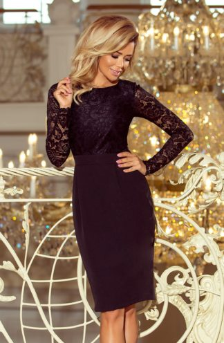 Ołówkowa sukienka z koronką czarna