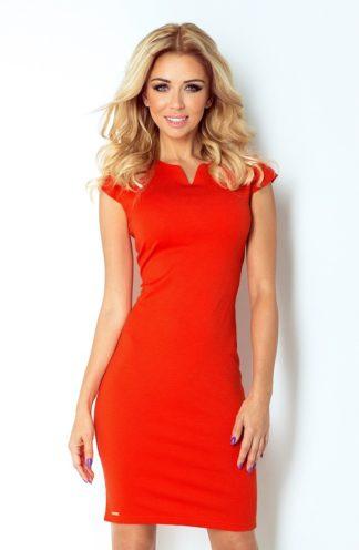 Prosta sukienka do pracy pomarańczowa