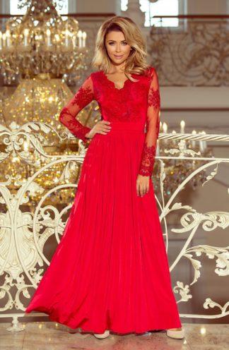 Długa suknia z rękawami czerwona