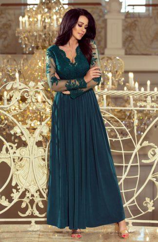 Długa suknia z rękawami ciemnozielona