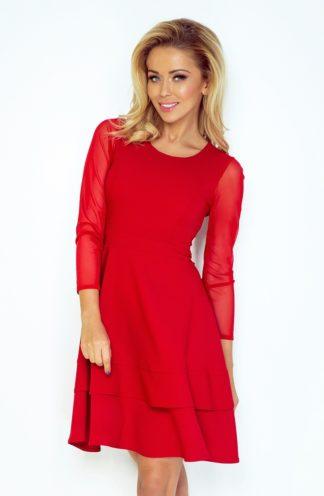 Sukienka z przezroczystymi rękawami czerwona