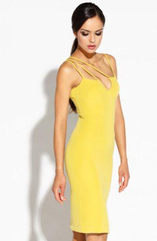 Dopasowana sukienka z paseczkami żółta