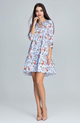Sukienka trapezowa mini kwiaty