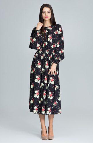 Sukienka midi czarna w kwiaty
