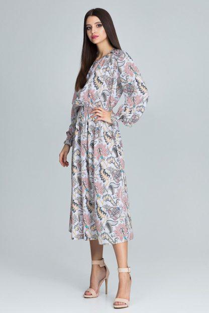 Sukienka midi w roślinne wzory