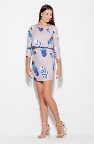 Sukienka mini w pióra beżowa