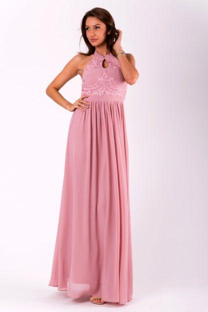 Sukienka maxi z ozdobnym dekoltem różowa