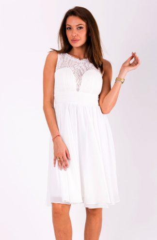 Sukienka szyfonowa mini biała