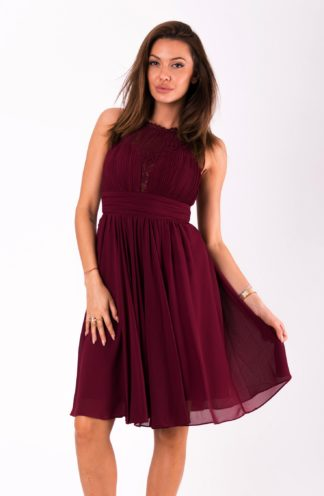 Sukienka szyfonowa mini bordowa