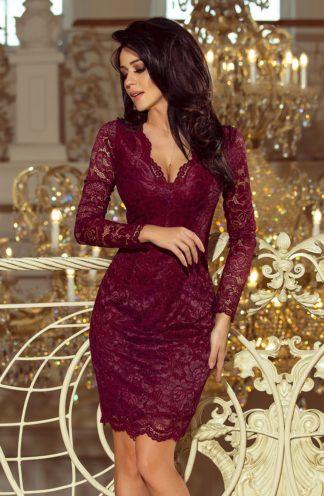 Sukienka koronkowa z rękawem bordowa
