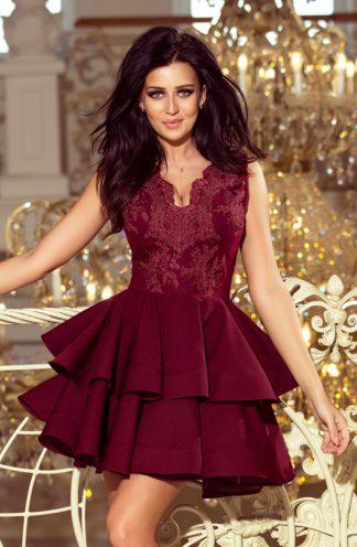 Sukienka rozkloszowana z falbaną bordowa