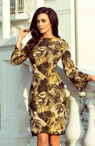Sukienka sweterkowa musztardowe liście