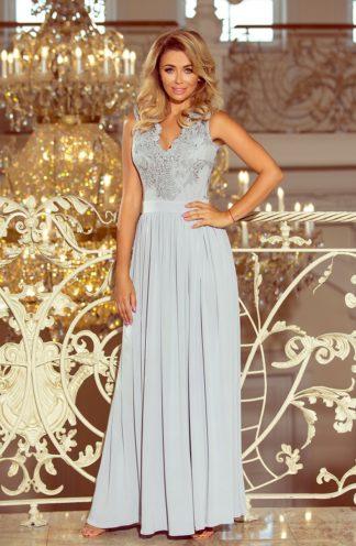 Długa suknia z rozcięciem srebrna