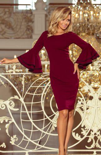 Sukienka z rozkloszowanymi rękawami bordo
