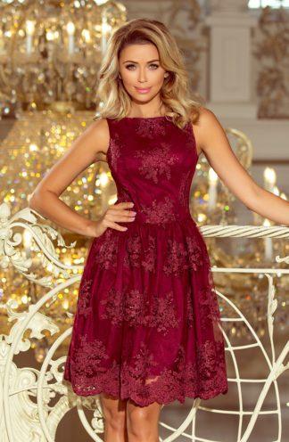 Ekskluzywna sukienka rozkloszowana bordowa