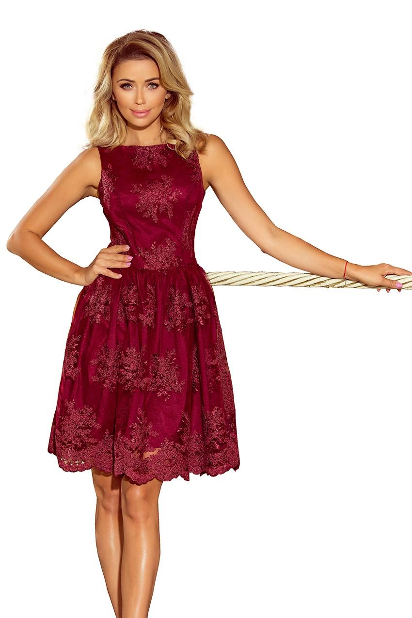 Ekskluzywna sukienka rozkloszowana z koronki bordowa