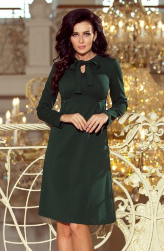 Sukienka trapezowa z wiązaniem zielona
