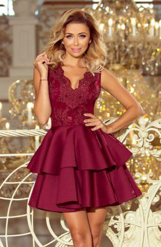 Sukienka połyskująca rozkloszowana bordowa