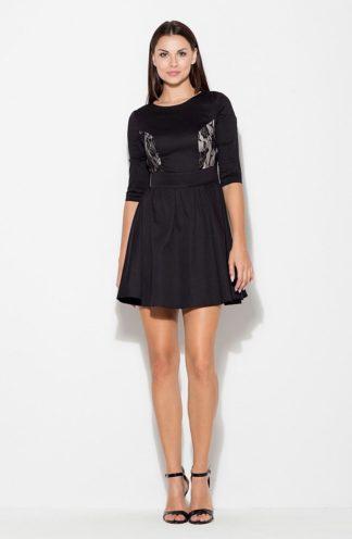 Sukienka z koronką na bokach czarna