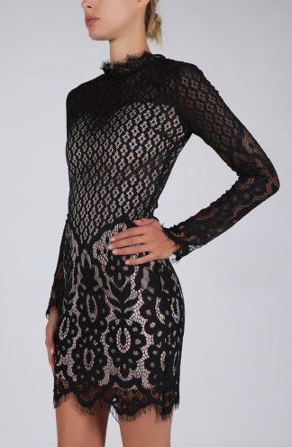 Sukienka koronkowa mini z rękawem