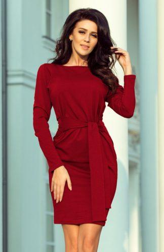 Sukienka z szerokim wiązaniem bordowa