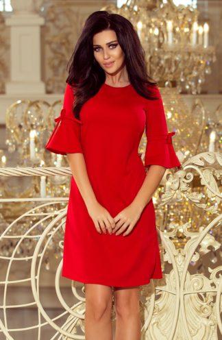 Sukienka trapezowa z rękawami czerwona