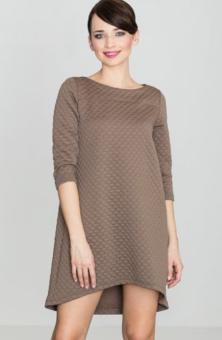 Pikowana sukienka trapezowa brązowa