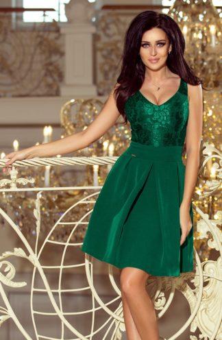 Sukienka z zakładkami i koronką zielona