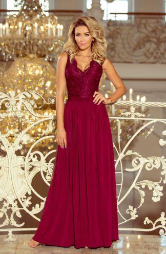 Długa suknia z rozcięciem bordowa