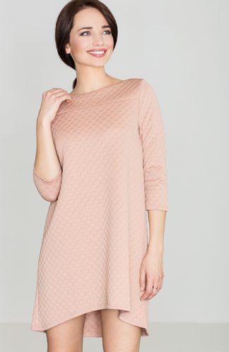 Pikowana sukienka trapezowa różowa