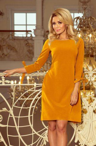 Wizytowa sukienka z kokardkami musztardowa