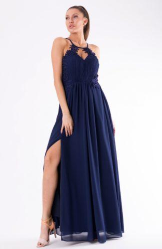 Długa sukienka z rozcięciem i haftem granatowa