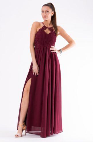 Długa sukienka z rozcięciem i haftem bordowa