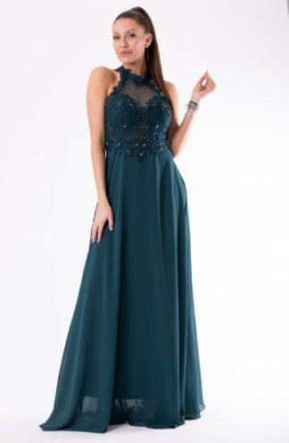 Suknia z haftowaną górą bez ramion zielona