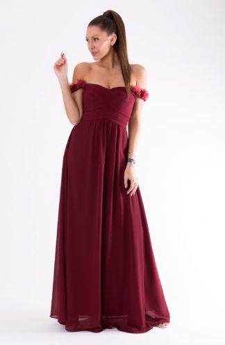 Sukienka z opadającymi ramionami bordowa
