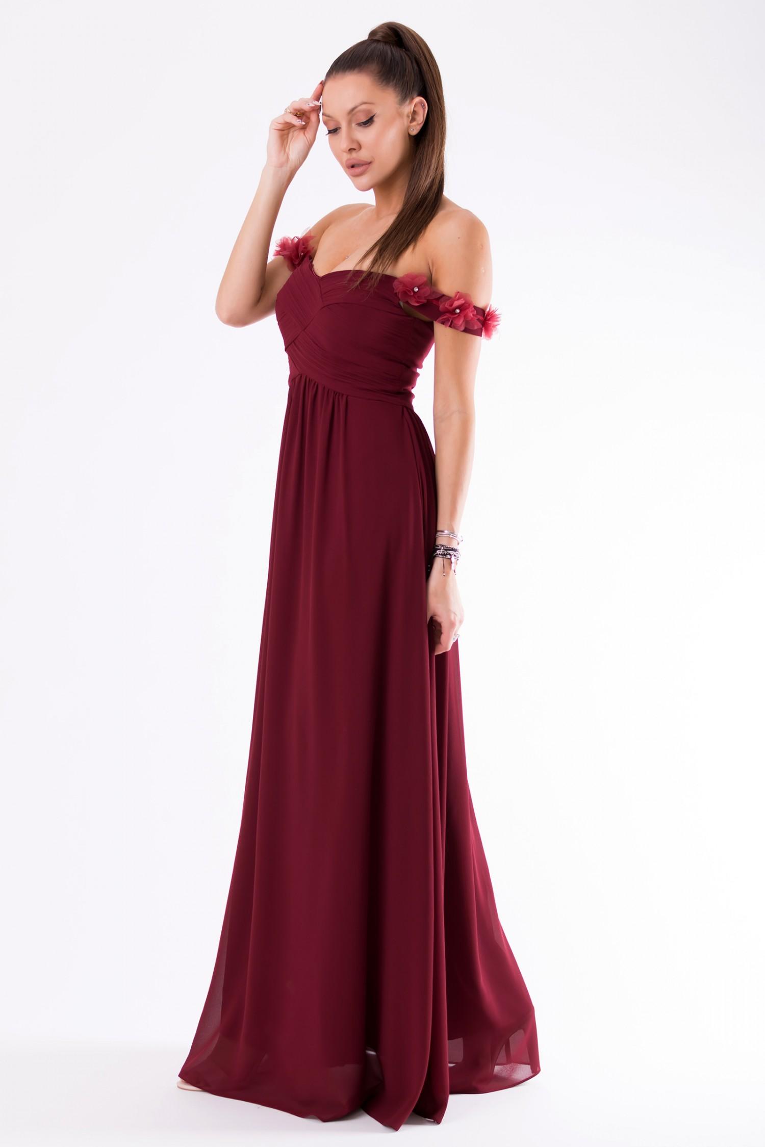 9f47701ce1d90a Długa sukienka z opadającymi ramionami bordowa · 13Sukienek.pl